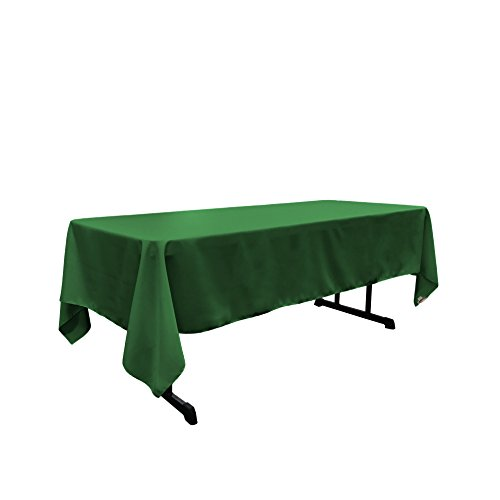 LA Linen Polyester Poplin Rectangular Tablecloth, 60 by 102-Inch, Green Emerald