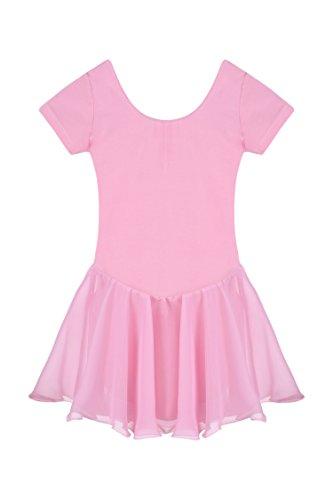 Untlet Ballettkleid Mädchen Kinder Kurarm Ballettanzug Ballett Trikot Kurzarm Body mit Chiffon Wickelrock Kinder Ballettkleidung Tanzkleid Tanzbody,Pink,130