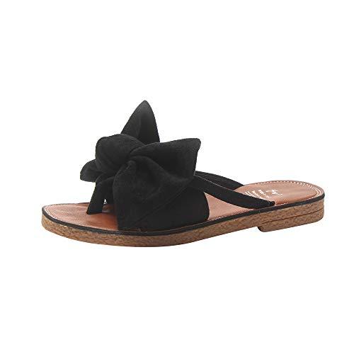 Flip Flops Damen UFODB Frauen Clip Toe Sandals Open Schleife Pantoffel Mode Flach Sandalen Sommerschuhe Strand Schuhe Sportschuhe Shoes Outdoorsandalen