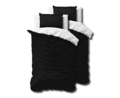 SLEEP TIME Bettwäsche 4teilig Zweifarbig 100% Baumwolle, 135cm x 200cm, Mit 2 Kissenbezüge 80cm x 80cm, Weiß/Schwarz