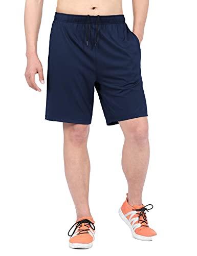 DISHANG Shorts de Running para Hombre con Bolsillos, Shorts Deportivos de Secado rápido para Hombres Athletic Gym Training Basketball-Armada-XXL