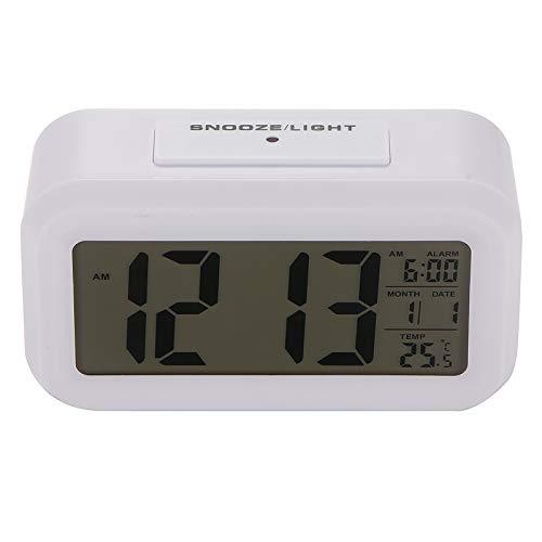 LKHF Batería Reloj Despertador Digital Reloj con Pantalla LCD Grande Sensor de luz con Sensor de luz Luz Nocturna Reloj multifunción para Mesa de Oficina para niños