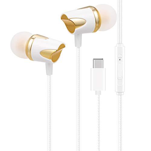 Andoer Fones de ouvido com fio USB Tipo C Fones de ouvido intra-auriculares portáteis Controle de linha com microfone para MI 8 / 8SE / 6 / Note 3 / MIX 2 para LE 2/3 Series