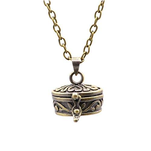iMustbuy Brass Openable Hollow Commemorative Pet Ashes and Hair Necklace Pendant Bronze Love Religious Jewelry Box Shape with Chain