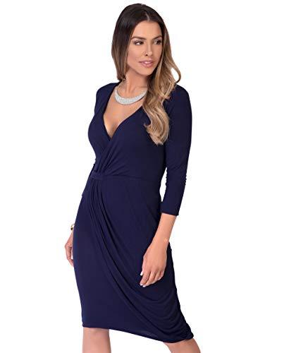 KRISP Vestido Moda Mujer Fruncido, Azul Marino (6174), 36, 6174-NVY-08
