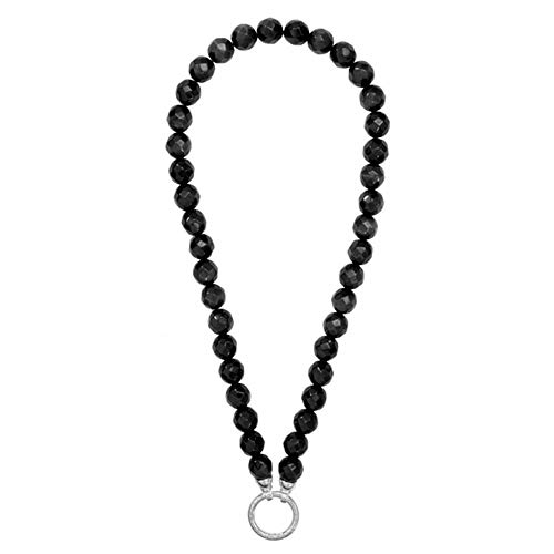 Nikki Lissoni Faceted Black Cats Eye 48cm Silver Beaded Necklace N1000S48
