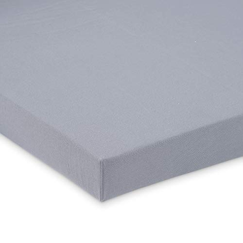 FabiMax Jersey Spannbettlaken für Laufgitter 100x100 cm, grau