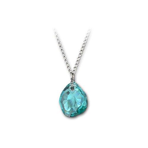 Collar de cristal de Swarovski con circonita azul neón, joyería para madre auténtica 1076313