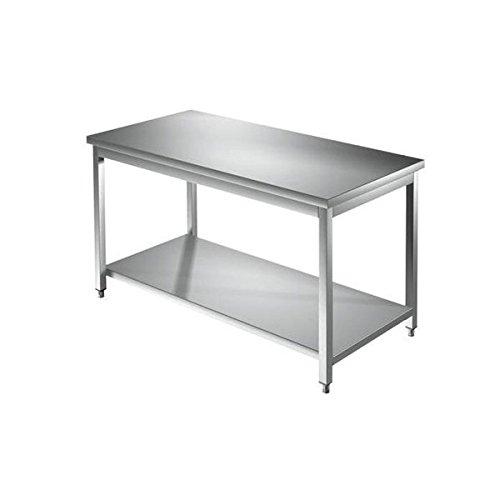 Mesa de acero inoxidable con estante de fondo sin base elevadora, dimensiones de 200x 70x 85 cm (altura)