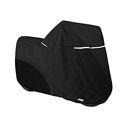 Explore Land Heavy Duty Motorcycle Cover - All Season Scooter Storage Cover for Using Indoor Outdoor Camping (Black, XL (108Lx 38Wx 49H inches))