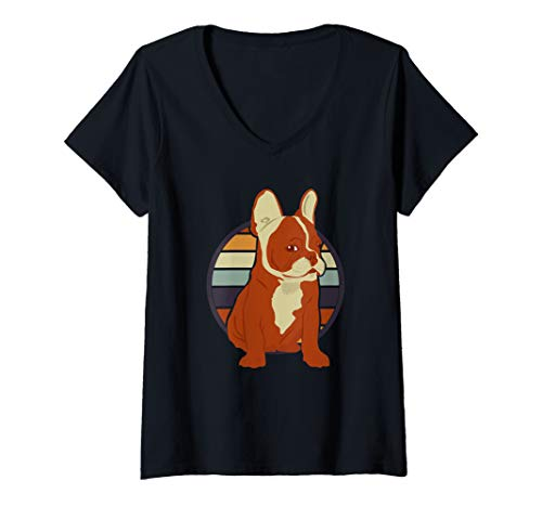 Womens Vintage French Bulldog Clothes Frenchie Outfit Retro Stuff V-Neck T-Shirt