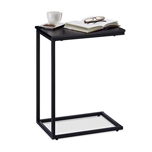 Relaxdays zwart, bijzettafel, metalen frame, robuust, melamine plaat, decoratieve tafel, u-vormige salontafel 60 cm hoog, zwart, standaard