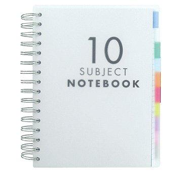Quaderno con divisori per 10 argomenti, formato A5, traslucido, 200 fogli (400 pagine) di carta bianca a righe di Paperchase