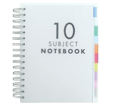 Paperchase A5 Translucent 10 Subject Notebook, Subject Dividers, 200 sheets (400 pages) of Close-Ruled White Paper
