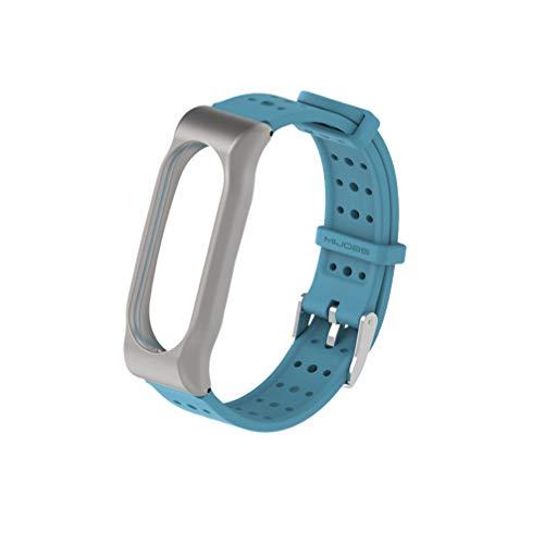 NICERIO compatível com Mi Band 2 pulseiras, pulseira de relógio de silicone com caixa de metal, pulseira de reposição para relógio esportivo, Azul-celeste, 2*21cm