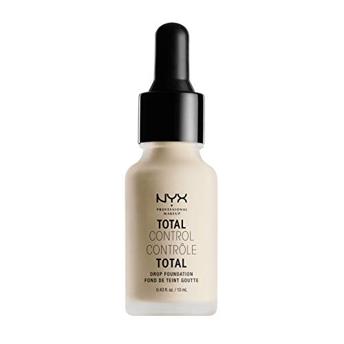 NYX Professional Makeup Total Control Drop Foundation, Präzise Dosierung, Aufbaubare Deckkraft, Langanhaltend, Vegane Formel, Mattes Finish, Farbton: Alabaster