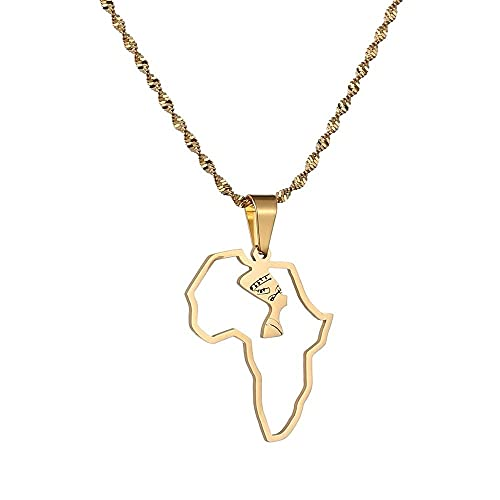 xtszlfj Mapa de África Reina egipcia Nefertiti Collares Pendientes Joyería de Mujer Joyería al por Mayor Africana