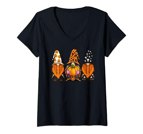 Mujer Halloween Gnomos lindo otoño calabaza otoño divertido vacaciones Camiseta Cuello V