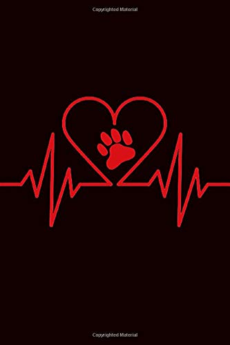 Paw In Heartbeat Journal: Black Cover with Red Paw in Heart Beat Notebook Diary Planner - Gift Book for Dog Lovers, Cat Owners, Veterinarians, Vet Students, Animal Rescue - 100 Blank Lined Pages