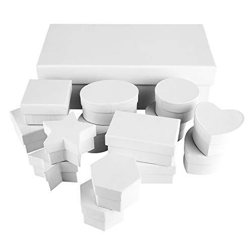 Ideen mit Herz Geschenkboxen mit Deckel | Pappboxen | 15er Set | verschiedene Formen: Stern, Herz, rund, oval, rechteckig | aus stabilem Karton | ideal für Geburtstag & Hochzeit | weiß