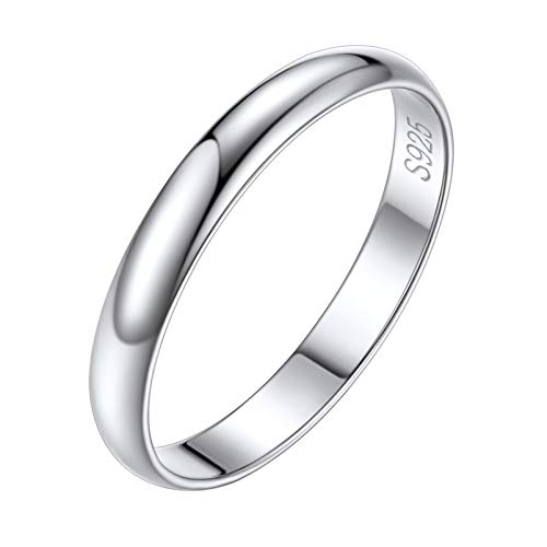 Silvora Women Stacked Ring Classic Eternity Jewelry Charms Sterling Silver Wedding Band Rings 3MM Size 12