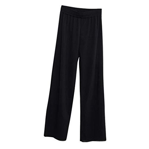 WOZOW Weites Bein Palazzo Hosen Anzughose Damen Solid Einfarbig Lose Swing High Waist Lang Long Arbeitskleidung Straight Slim Elegant Casual Soft Pyjama Trousers (XL,Schwarz)