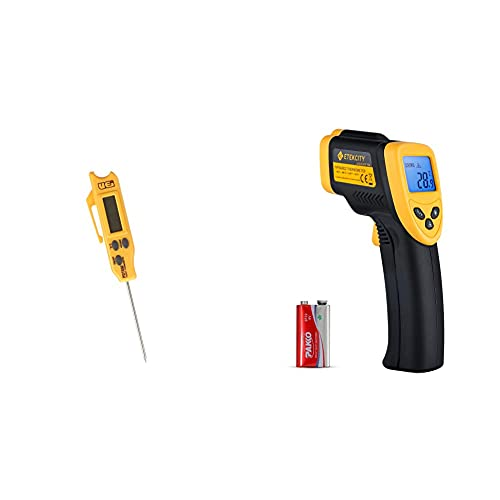 UEi Test Instruments PDT650 Folding Pocket Digital Thermometer,Yellow & Etekcity Infrared Thermometer 774, Temperature Gun Non-Contact Digital Laser Thermometer-58℉~ 716℉, Black