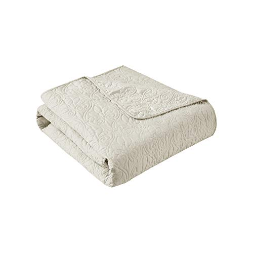Madison Park Quebec Luxury Oversized Quilted Throw Ivory...