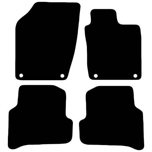 Carsio Tailored Black Carpet Car Mats for Fabia 2015 Onwards - 4 Piece Set With 4 Clips