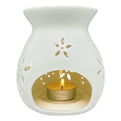 Zollefys White Ceramic Tea Light Burner, Aromatherapy Oil Burner, Wax Warmer, Tealight Holder (Pulmeria)