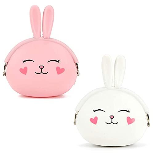 Yuemuop 2 Stuks Portemonnee Gemaakt van Siliconen, Cartoon Dieren Portemonnee, Mini Portemonnee voor Kinderen voor…