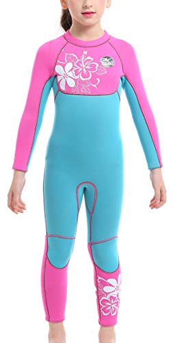 Kids Girls 3mm Wetsuit Long Sleeve One Piece Dive Skin UV Protection Thermal Swimsuit for Diving Snorkeling Swimming 10-12 Years