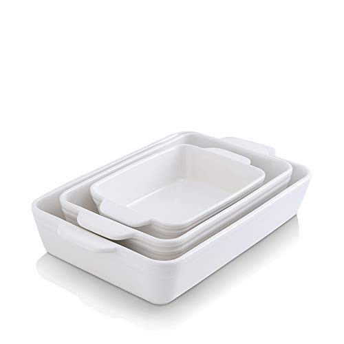 KOOV Bakeware Set, Ceramic Baking Dish, Rectangular Baking Pans for Cooking, Cake Dinner, Kitchen, 9 x 13 Inches, 3-Piece (Set of 3, White)
