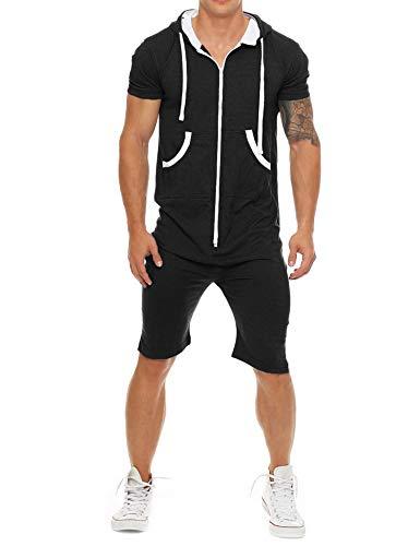 COOFANDY Men's Casual Tracksuit Short Sleeve Comfy Running Jogging Full Zip Athleti Sports Set Black, Large