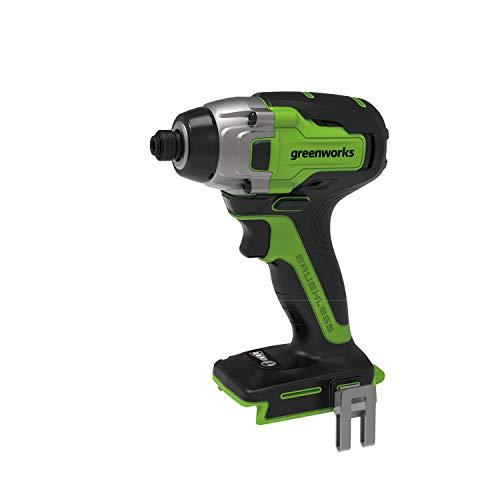Greenworks 24V bürstenlos Akkuschrauber 300 Nm Bohrschrauber (LED Arbeitslicht Drehmoment 2800 Umdrehungen/Min 6,35mm ohne Akku u. Ladegerät)