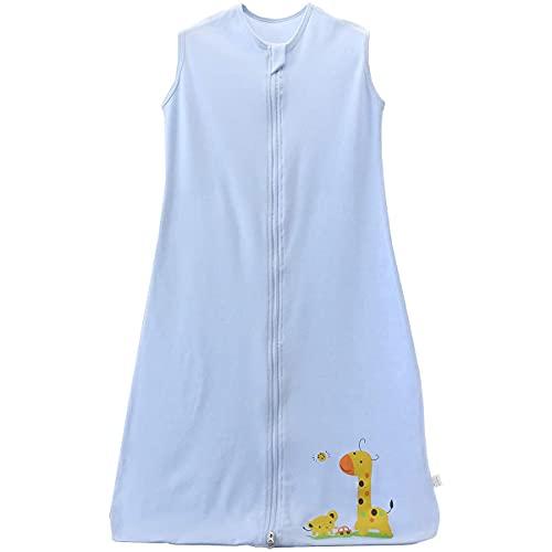 AOOPOO Sommerschlafsack Baby Schlafsack Kleine Kinder Schlafanzug ohne Ärmel für Sommer und Frühling 100% Baumwolle (110)