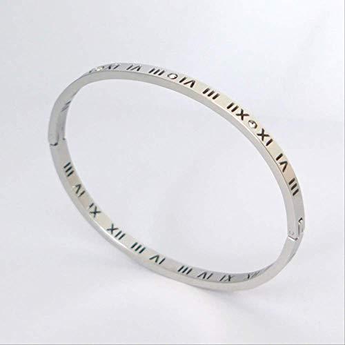 ruofengpuzi Reloj De Mujer Disfraz Cristal Pulseira Acero Inoxidable Pulsera De Números Romanos Accesorios Moda Mujer Joyería T 4Mm Plata