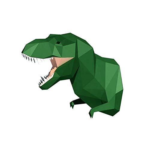 WGXY DIY Papercraft Animal Cabeza de 3D estereoscópica Inicio Dinosaurio Adorno de Dormitorio geométrico 3D de Papel Hecho a Mano Arte Modelo,Verde