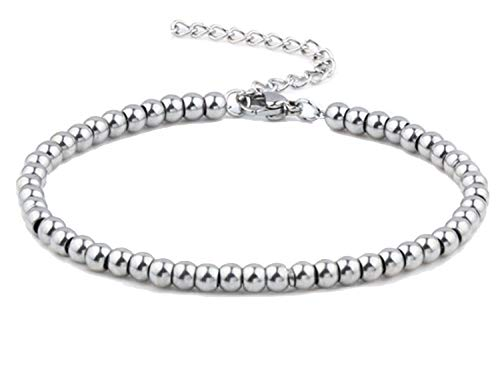 Bracciale Braccialetto Perle Sfere Palline In Acciaio Inox Uomo Donna Unisex (4.0mm) B-01