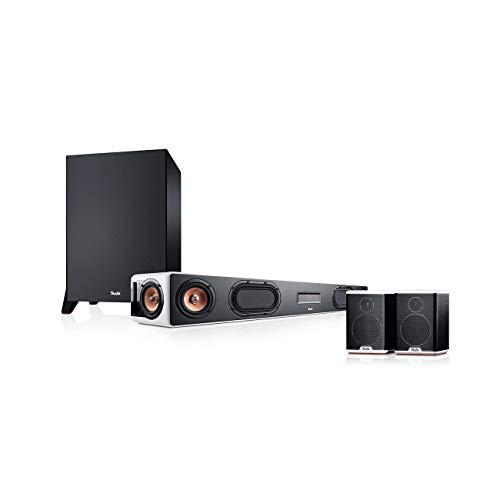 Teufel Cinebar Ultima Surround Power Edition 4.1-Set Weiß / Schwarz-Weiß Soundbar Bluetooth mit aptX HDMI Surround Kino - Sound Speaker