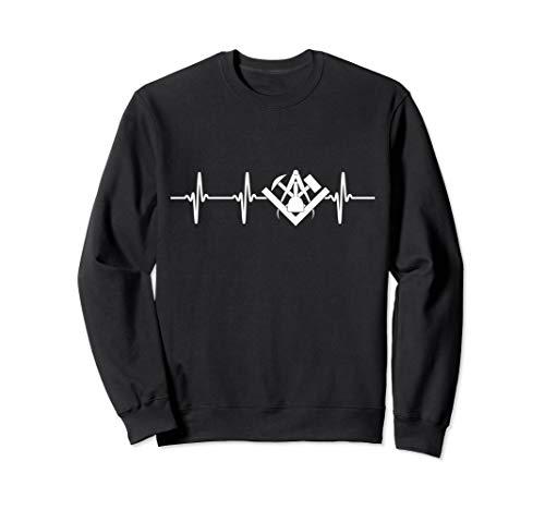 Steinmetz Motiv mit Zunftwappen und EKG für Steinmetzmeister Sweatshirt