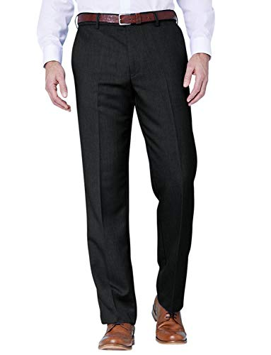 Farah Mens Flex Trouser Pants with Self-Adjusting Waistband Black 38W x 27L