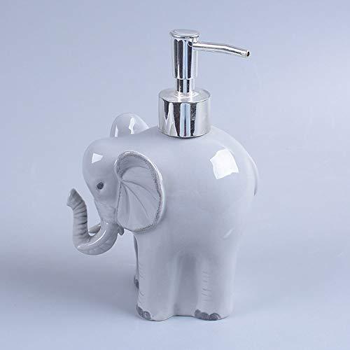 Seifenspender Aus Keramik,200Ml Grau Elefant Form Füllbare Lotion Spender Mit Metall Pumpe (Mit Zufälligen Seifenschale), Verwendet Für Küche, Badezimmer, Spüle - Ideal Für Hand Sanitizer &Amp;