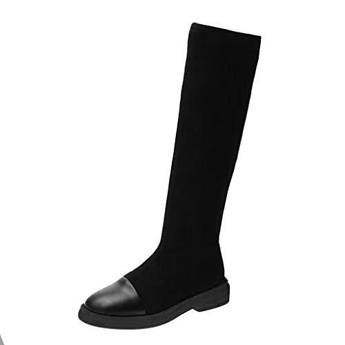 Damen Winter Stiefel 2019 Frauen Knie nackte Stiefel Plattform-Bottom Flache runde Kappe Casual Long Tube Booties Wild Ausgehen Basic Warm Wadenlänge Knielänge Stiefel(Schwarz,37)
