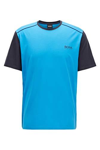 BOSS Herren Balance T-Shirt RN Pyjama-T-Shirt aus Stretch-Gewebe mit Colour-Block-Ärmeln