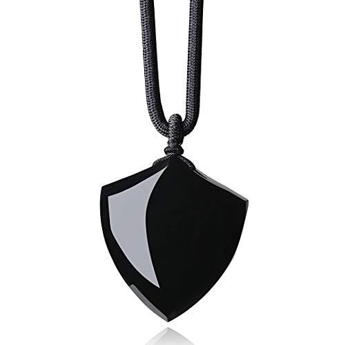 COAI Colgante Escudo de la Fe de Obsidiana Negra para Hombre