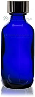 2 Oz (60 ml) BLUE Boston Round Glass Bottle w/Cap - Pack of 12