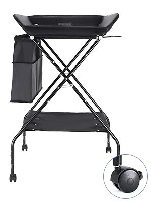 Baby Changing Table with Wheels, FORSTART Adjustable Height Folding Diaper Station Portable Mobile Nursery Organizer for Infant (Changing Table + Universal Wheel (2019 Latest), Black)