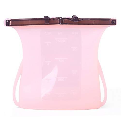 Harddo herbruikbare siliconen voedingszak, 1 stuks beweegbare siliconen, voor levensmiddelen geschikte zakjes roze