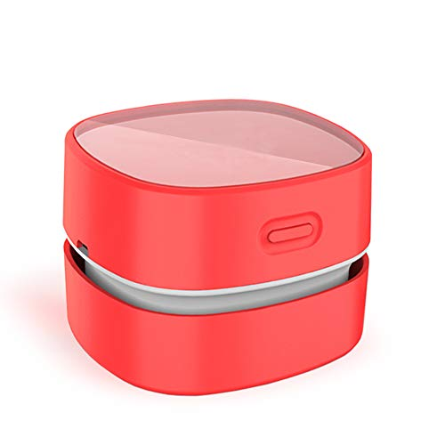ODISTAR Desktop Vacuum Cleaner,Mini Table dust Sweeper Energy Saving,High Endurance up to 400 mins,Cordless&360º Rotatable Design for Cleaning Hairs,Crumbs,Computer Keyboard of Gifts for Kids (red)
